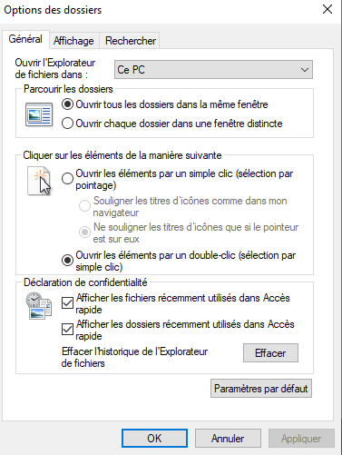 Options acces rapide Windows10 active