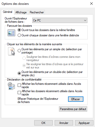Options acces rapide Windows10 desactive
